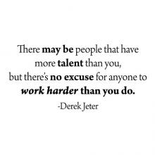 There may be people that have more talent than you, but there's no excuse for anyone to work harder than you do. - Derek Jeter wall quotes vinyl lettering wall decal home decor vinyl stencil sports baseball inspiration sport play practice