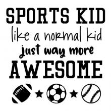 Sports kid like a normal kid just way more awesome {football, soccer ball, baseball and stars}  wall quotes vinyl lettering wall decal home decor vinyl stencil sport player play team soccer football baseball