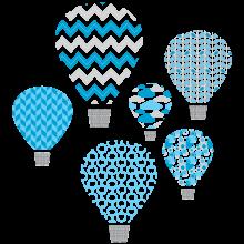 hot air balloon blue textstyles decals