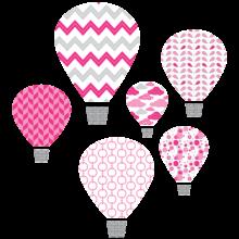 hot air balloon pink textstyles decals