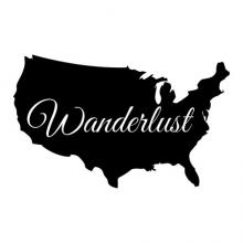 US Map / Wanderlust wall quotes vinyl wall decal art home decor travel wander vacation