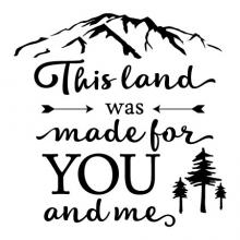 This land was made for you and me wall quotes vinyl lettering wall decal mountain pine tree arrow song lyrics woody guthrie folk song camp camper camping outdoor nature america