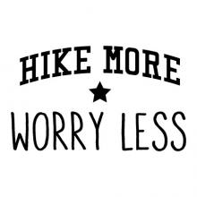 Hike more worry less wall quotes vinyl lettering wall decal hiking outdoor nature camp camping camper travel vacation star