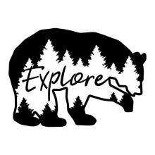 Explore {bear silhouette with trees} wall quotes vinyl lettering wall decal home decor nature mountains forest hike adventure camp