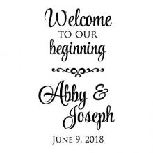 Welcome to our beginning bride and groom name custom wedding date wall quotes vinyl lettering wall decal wedding decor vinyl stencil custom personalized wedding date names sign