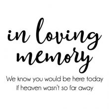 in loving memory We know you would be here today if heaven wasn't so far away wall quotes vinyl lettering wall decal home decor wedding sign signs remembrance