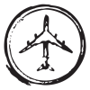 airplane circle stamp postmark wall art decal