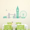 London Skyline with Moon and Stars - 2 Color