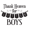 Thank Heaven Little Boys Banner Pennant Vinyl Wall Decal