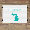 I heart Michigan striped wall quotes art print