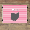 I heart Ohio striped wall quotes art print