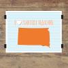 I heart South Dakota striped wall quotes art print