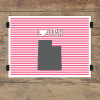 I heart Utah striped wall quotes art print