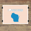 I heart Wisconsin striped wall quotes art print
