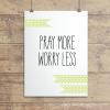pray More Celedon Polkadot Ribbons Wall Quotes™ Giclée Art Print