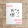 Pray More Soft Pink Polkadot Ribbons Wall Quotes™ Giclée Art Print