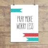 pray More Teal Polkadot Ribbons Wall Quotes™ Giclée Art Print