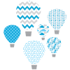 hot air balloon blue textstyles decals