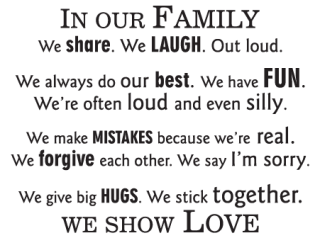 in our family we show love wall quotes decal com