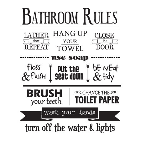Bathroom Rules Wall Quotes™ Decal | WallQuotes.com