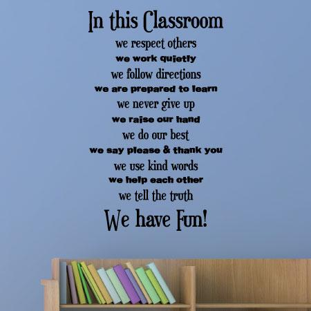 Extended Classroom Rules Wall Quotes Decal Wallquotes Com