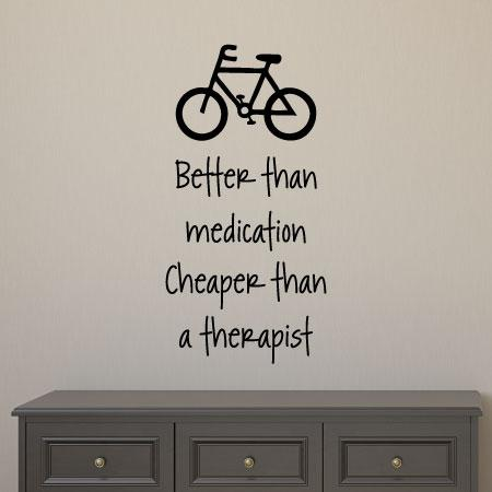 Cycling Is The Best Medicine Wall Quotes Decal