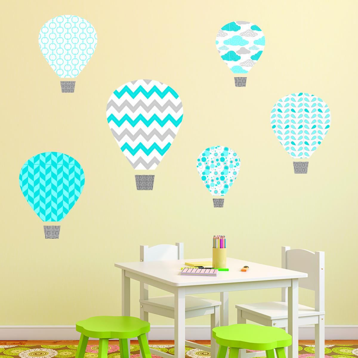 Blue Hot Air Balloons Textstyles™ Canvas Wall Decal | WallQuotes.com