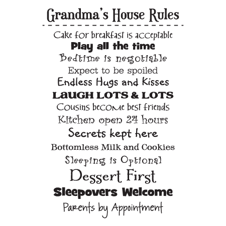 Grandma S House Rules Wall Quotes Decal Wallquotes Com