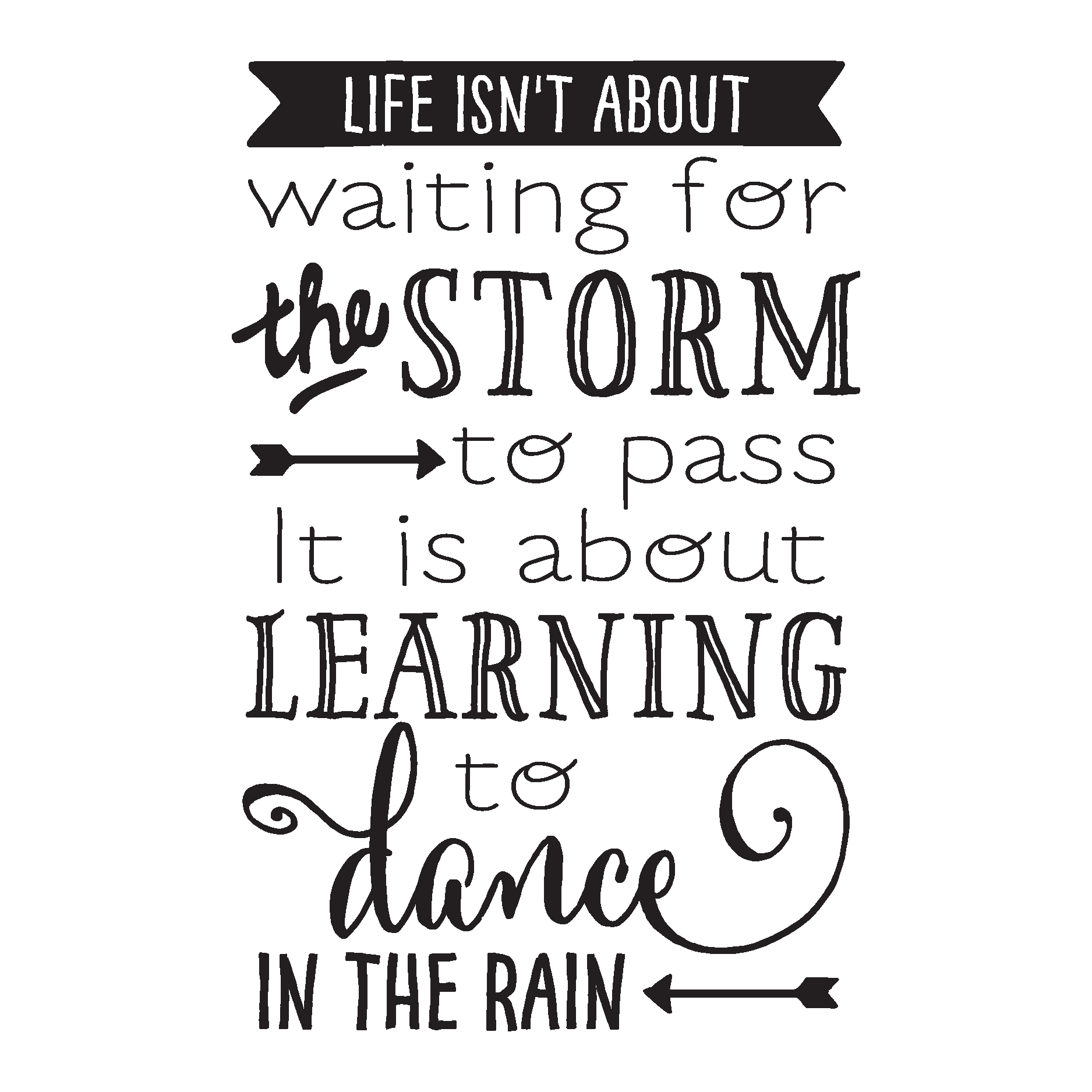 Learning To Dance In the Rain Wall Quotes™ Decal ...