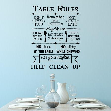 Table Rules Wall Quotes Decal Wallquotes Com