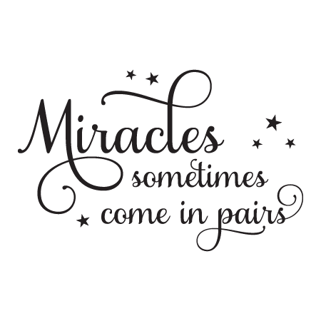 Miracles Come In Pairs Twins Nursery Wall Quotes Decal