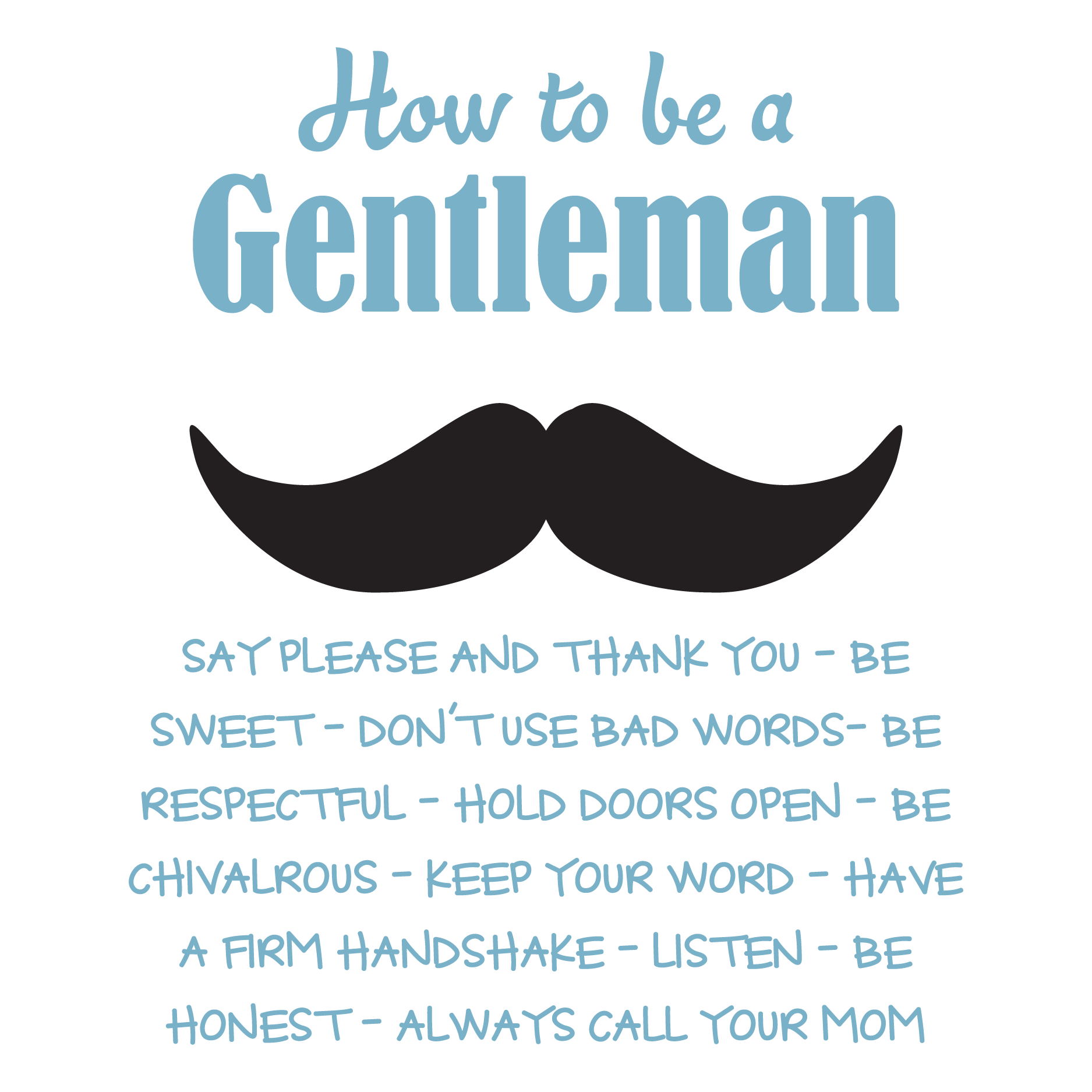 How To Be A Gentleman Rules Wall Quotes Decal