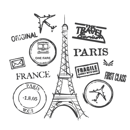 Paris Postmarks Collage Wall QuotesTM Decal