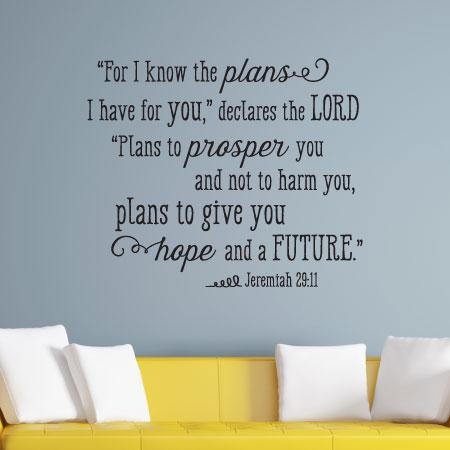 I Know The Plans I Have For You Wall Quotes Decal