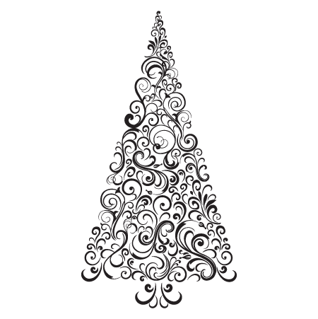Festive Swirls Christmas Tree Wall Quotes Decal