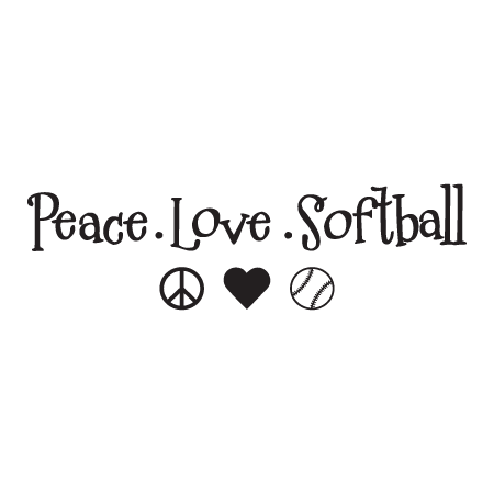 Peace Love Softball Wall Quotes Decal Wallquotes Com