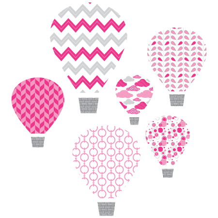 Pink Hot Air Balloons Textstyles Canvas Wall Decal